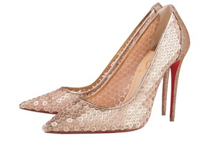 Christian Louboutin Classic Lace Heels Sequin Heels Formal Gold Pumps