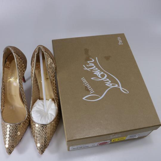 Christian Louboutin Classic Lace Heels Sequin Heels Formal Gold Pumps Image 1