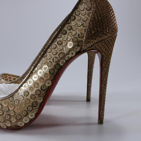 Christian Louboutin Classic Lace Heels Sequin Heels Formal Gold Pumps Image 4