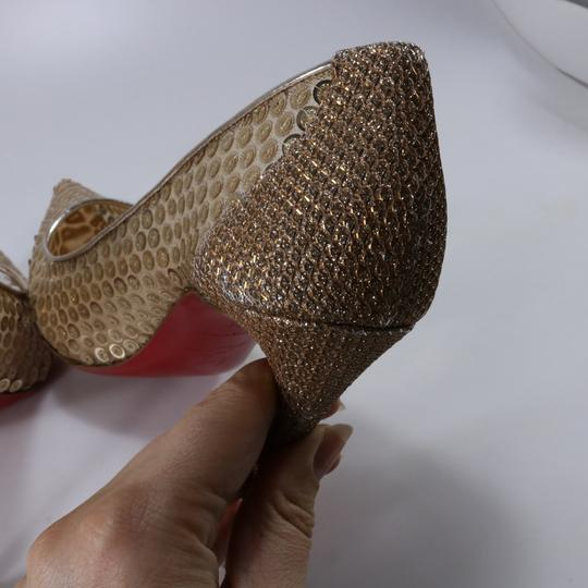 Christian Louboutin Classic Lace Heels Sequin Heels Formal Gold Pumps Image 8