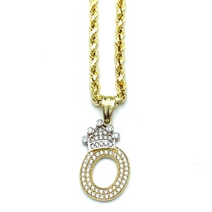 Other (2003) 10K Yellow Gold Rope Chain with Initial O Charm