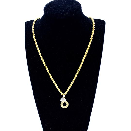Other (2003) 10K Yellow Gold Rope Chain with Initial O Charm Image 1