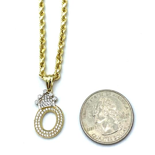 Other (2003) 10K Yellow Gold Rope Chain with Initial O Charm Image 2