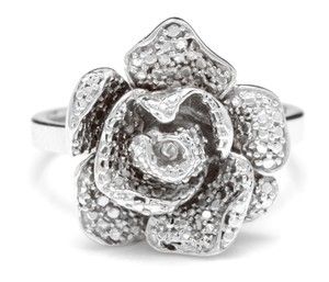 Other Beautiful 14K Solid White Gold Flower Ring