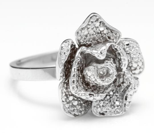 Other Beautiful 14K Solid White Gold Flower Ring Image 1