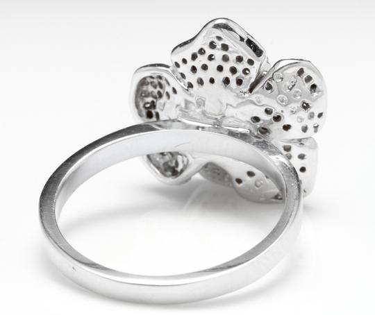 Other Beautiful 14K Solid White Gold Flower Ring Image 3