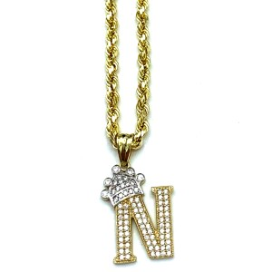 other (2004) 10K Yellow Gold Rope Chain with Initial N Charm Necklace