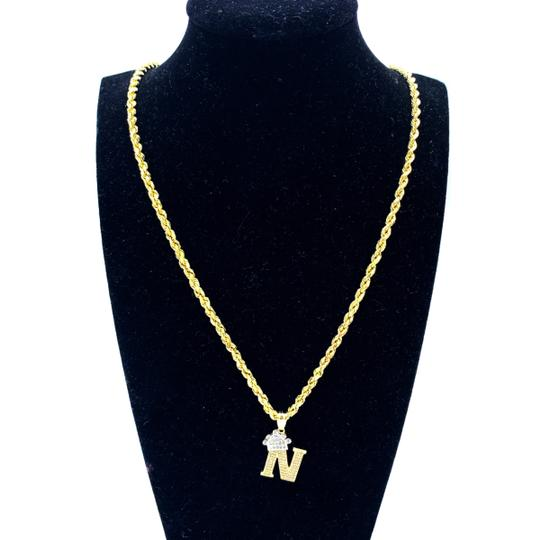 other (2004) 10K Yellow Gold Rope Chain with Initial N Charm Necklace Image 1