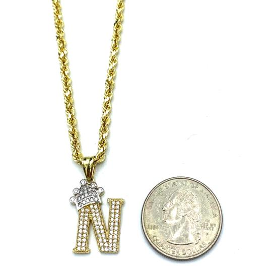 other (2004) 10K Yellow Gold Rope Chain with Initial N Charm Necklace Image 2