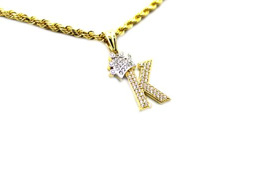 Other (2006) 10K Yellow Gold CZ Letter K With Rope Chain Necklace Image 1