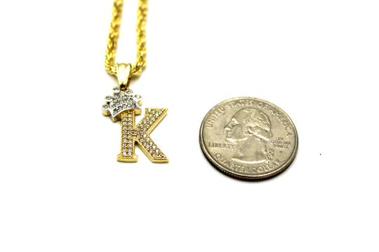 Other (2006) 10K Yellow Gold CZ Letter K With Rope Chain Necklace Image 2