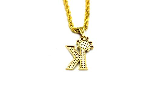 Other (2006) 10K Yellow Gold CZ Letter K With Rope Chain Necklace Image 3