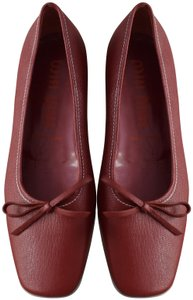 Miu Miu Vintage Leather Square Toe Red Flats