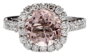 Other 3.65 Carats Natural Morganite and Diamond 14K Solid White Gold Ring