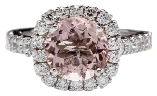 Other 3.65 Carats Natural Morganite and Diamond 14K Solid White Gold Ring Image 0