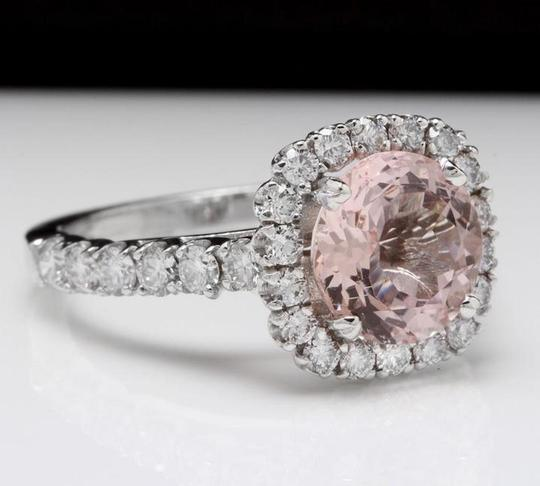Other 3.65 Carats Natural Morganite and Diamond 14K Solid White Gold Ring Image 1