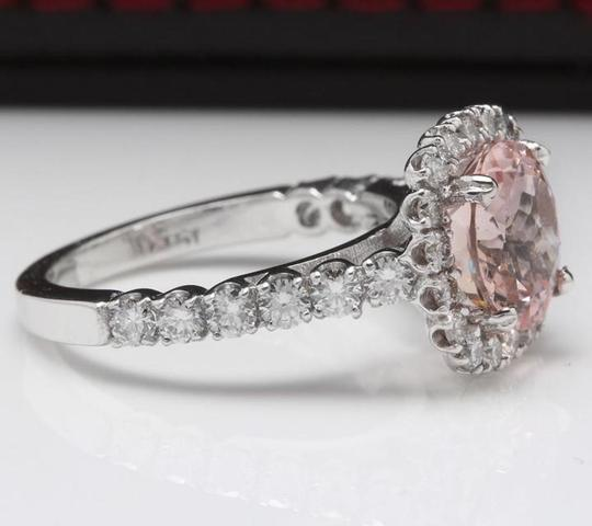 Other 3.65 Carats Natural Morganite and Diamond 14K Solid White Gold Ring Image 2