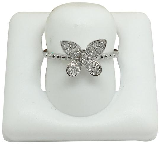 other 14K White Gold Natural Genuine Diamond Butterfly Ring Image 0
