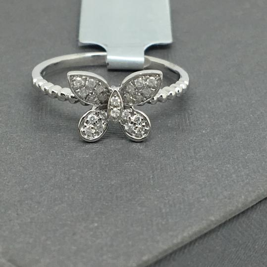 other 14K White Gold Natural Genuine Diamond Butterfly Ring Image 1