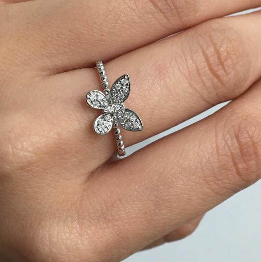 other 14K White Gold Natural Genuine Diamond Butterfly Ring Image 6