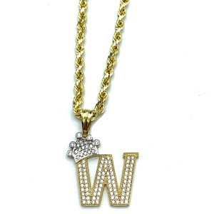 Other (2005) 10k Yellow Gold Rope Chain with Initial W Charm Necklace
