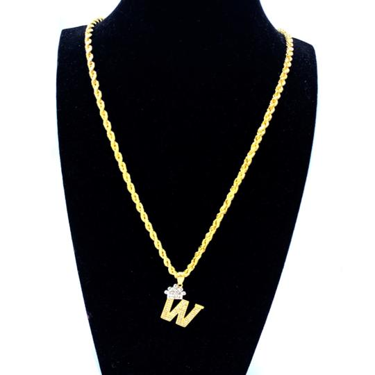 Other (2005) 10k Yellow Gold Rope Chain with Initial W Charm Necklace Image 1