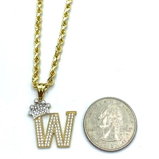Other (2005) 10k Yellow Gold Rope Chain with Initial W Charm Necklace Image 2