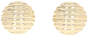 Other Ribbed Dome Earrings - 14k Yellow Gold Pierced Omega Closures E0220