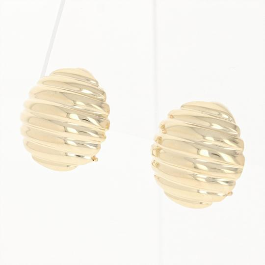 Other Ribbed Dome Earrings - 14k Yellow Gold Pierced Omega Closures E0220 Image 1