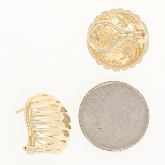 Other Ribbed Dome Earrings - 14k Yellow Gold Pierced Omega Closures E0220 Image 2