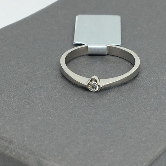 other 14K White Gold Natural Genuine Solitaire Diamond Ring Image 1