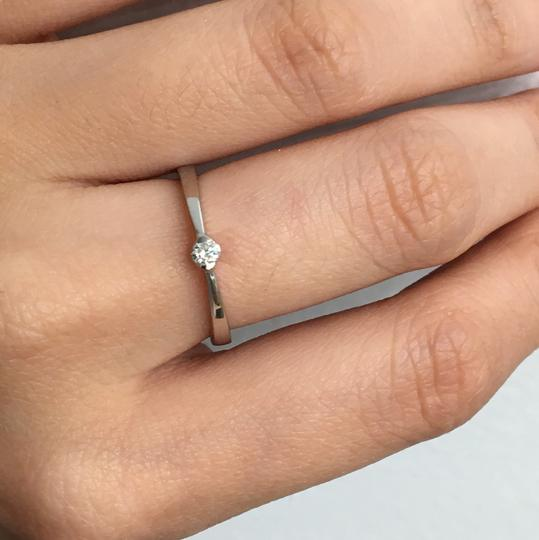 other 14K White Gold Natural Genuine Solitaire Diamond Ring Image 5