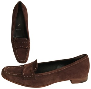 Prada Suede Loafers Leather Moccasins Made In Italy Brown Flats