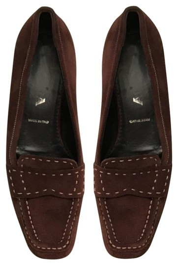 Prada Suede Loafers Leather Moccasins Made In Italy Brown Flats Image 1