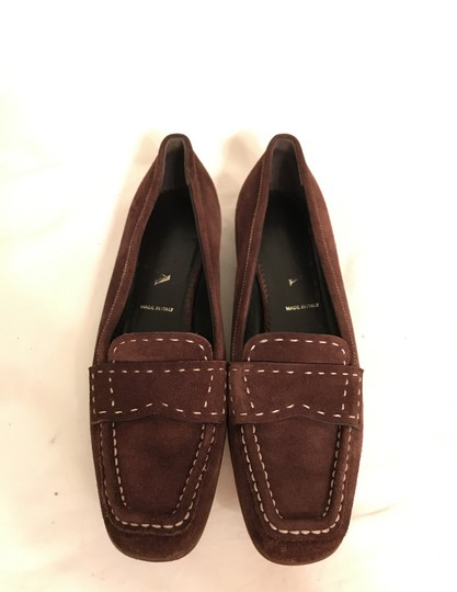 Prada Suede Loafers Leather Moccasins Made In Italy Brown Flats Image 3