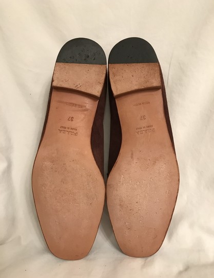 Prada Suede Loafers Leather Moccasins Made In Italy Brown Flats Image 5