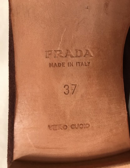Prada Suede Loafers Leather Moccasins Made In Italy Brown Flats Image 6