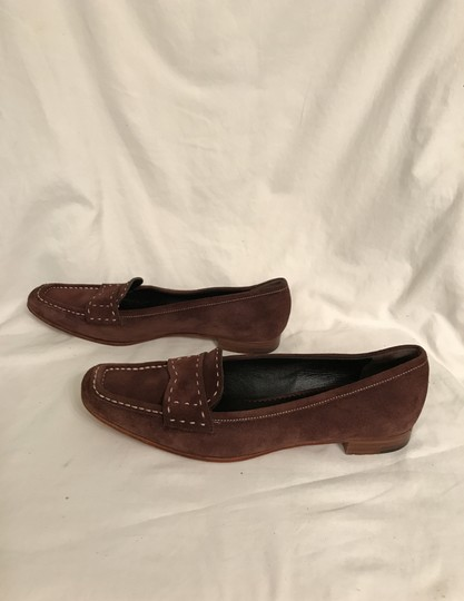 Prada Suede Loafers Leather Moccasins Made In Italy Brown Flats Image 7