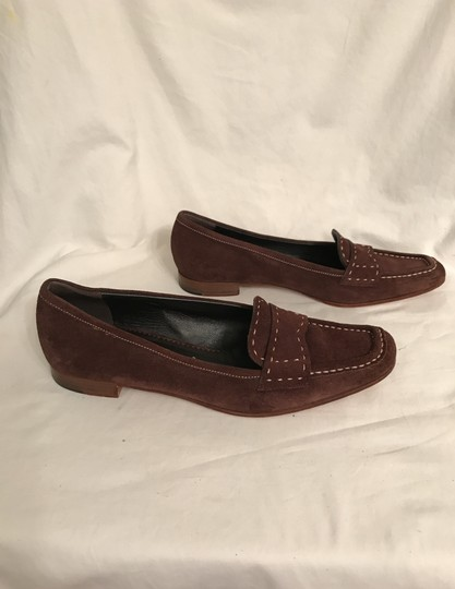 Prada Suede Loafers Leather Moccasins Made In Italy Brown Flats Image 8