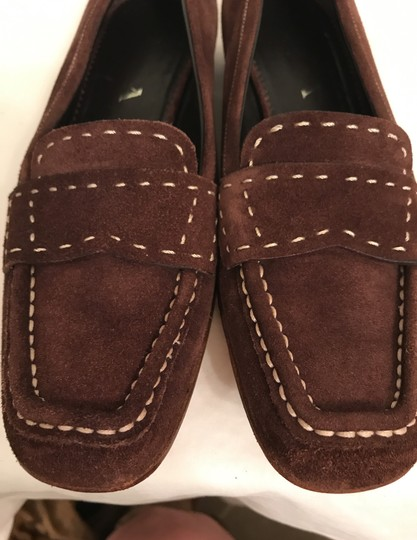 Prada Suede Loafers Leather Moccasins Made In Italy Brown Flats Image 9