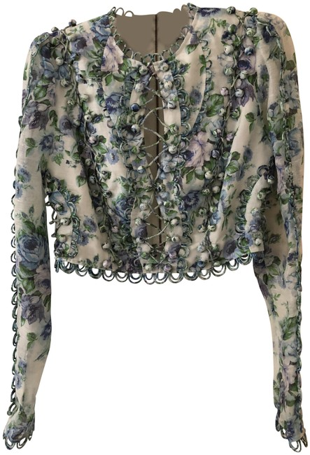 ZIMMERMANN Top Blue green purple white floral Image 0