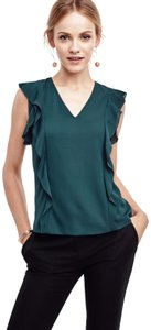 Ann Taylor Flutter Ruffle V-neck Top Hunter Green