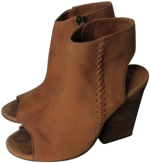 Steve Madden Open Toe Detail Suede Tan Carmel Boots Image 0