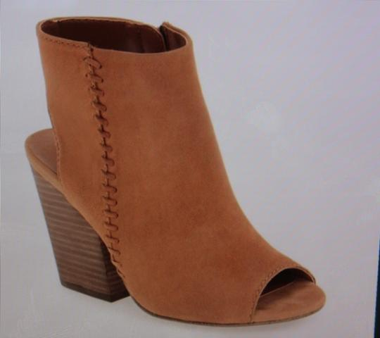 Steve Madden Open Toe Detail Suede Tan Carmel Boots Image 1