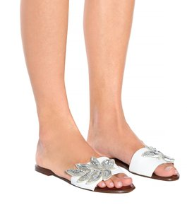 Veronica Beard Embellished Sequin Leather Flat Summer White Sandals