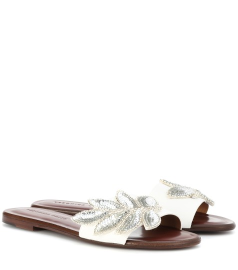 Veronica Beard Embellished Sequin Leather Flat Summer White Sandals Image 1