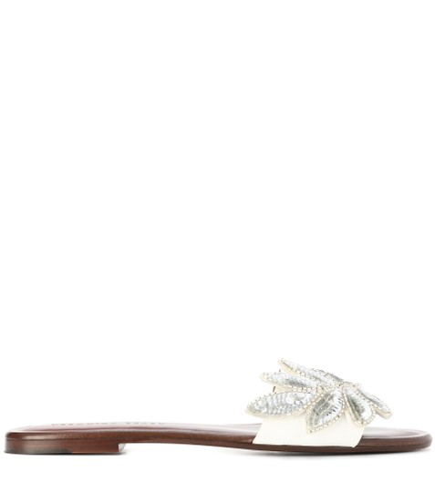 Veronica Beard Embellished Sequin Leather Flat Summer White Sandals Image 2