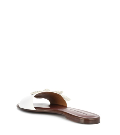 Veronica Beard Embellished Sequin Leather Flat Summer White Sandals Image 3