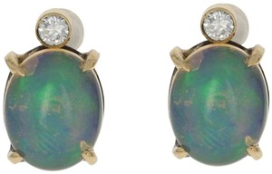 Other NEW 3.63ctw Oval Cabochon Welo Opal & Diamond Earrings 18k Gold E3618