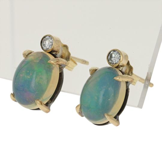Other NEW 3.63ctw Oval Cabochon Welo Opal & Diamond Earrings 18k Gold E3618 Image 1